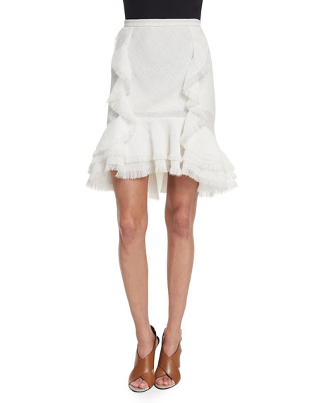 Jason Wu Ruffled Fit-&-Flare Skirt, Chalk