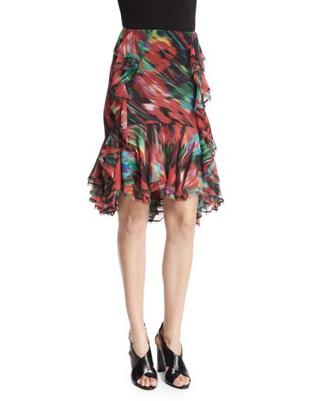 Jason Wu Long-Sleeve Floral-Print Top & Floral-Print Ruffle