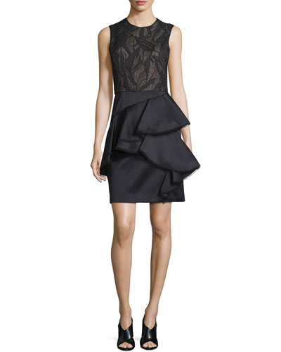 Sleeveless Ruffle-Skirt Cocktail Dress, Black