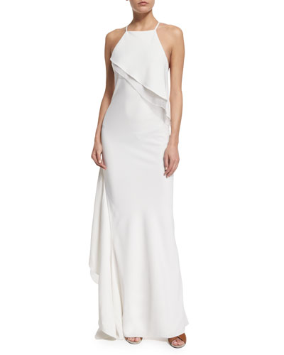 Layered-Ruffle Crisscross-Back Gown, Chalk