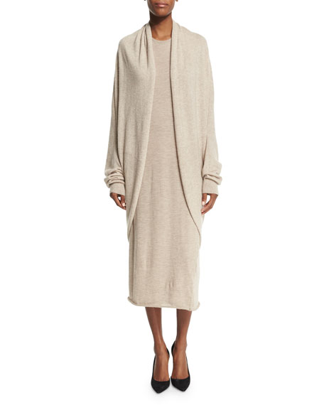 THE ROW Caro Draped-Front Long-Sleeve Sweater, Alabaster Melange