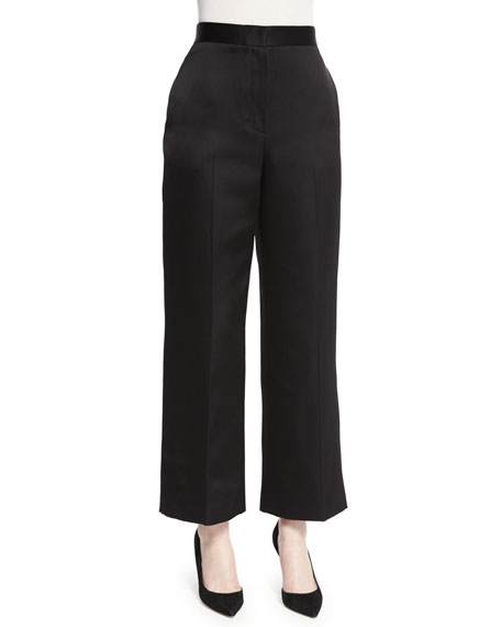 THE ROW Resme Wide-Leg Cropped Pants, Black