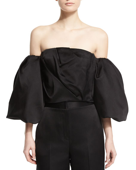 THE ROW Amilli Off-The-Shoulder Top, Black