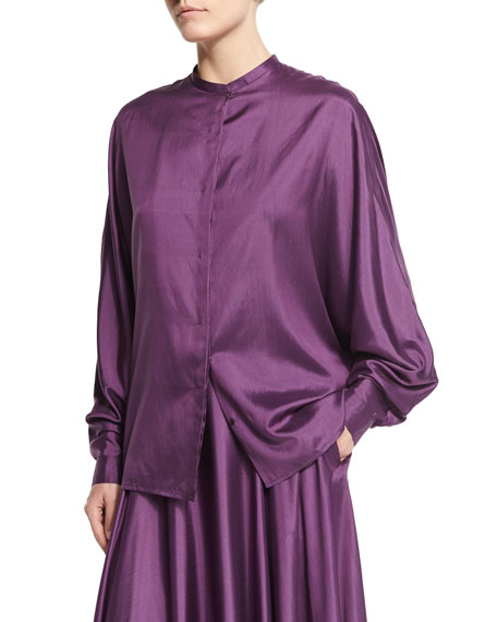 THE ROW Miyat Jewel-Neck Button-Front Shirt, Grape