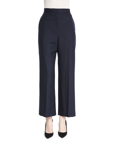 THE ROW Resme Wide-Leg Cropped Silk Canvas Pants,
