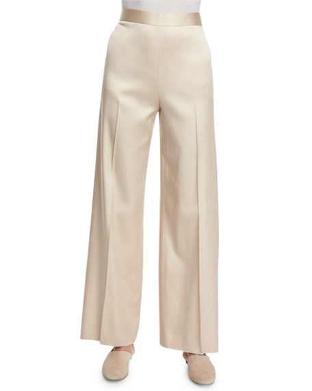 THE ROW Selip High-Waist Wide-Leg Pants, Alabaster