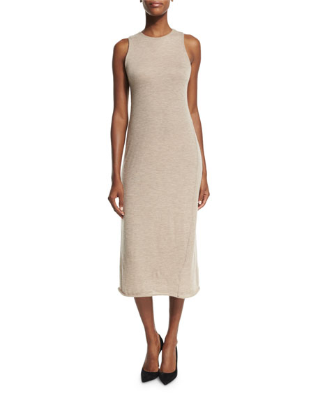 THE ROW Kira Sleeveless Cashmere Midi Dress, Alabaster