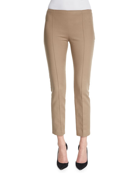 THE ROW Soroc Mid-Rise Skinny Cropped Pants, Sepia