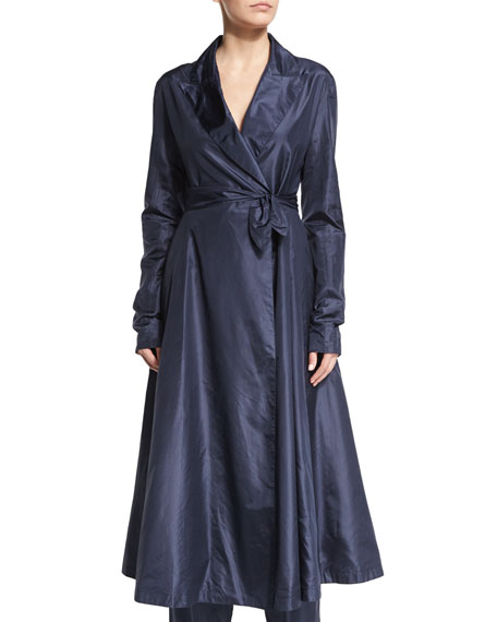 THE ROW Rotine Long-Sleeve Belted Coat, Lapis Blue