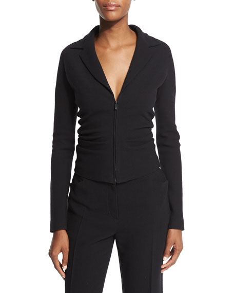 THE ROW Talina Zip-Front Fitted Jacket, Black