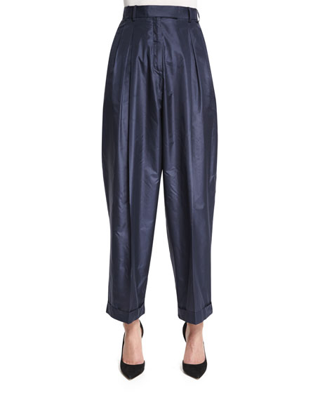 THE ROW Lussay Pleated-Front Ankle Pants, Lapis Blue