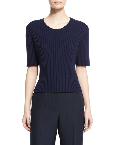 THE ROW Nias Short-Sleeve Cashmere-Blend Sweater, Deep Navy