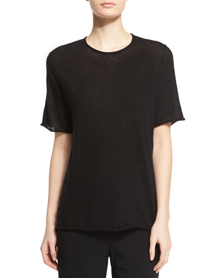 THE ROW Suskin Short-Sleeve Cashmere Top, Black