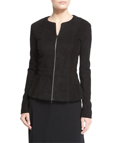 THE ROW Anastra Zip-Front Suede Jacket, Black