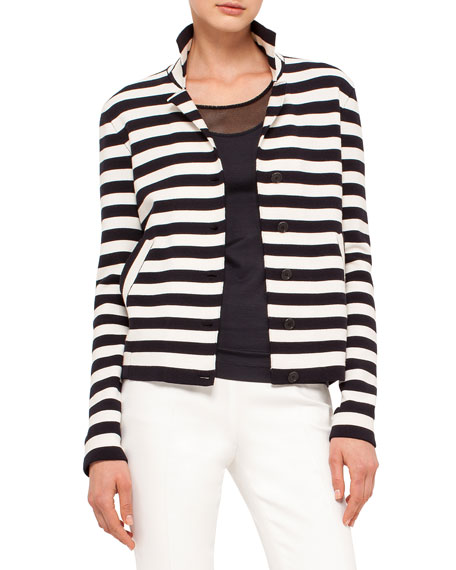 Akris punto Striped Knit Stretch-Wool Jacket, Navy/Cream
