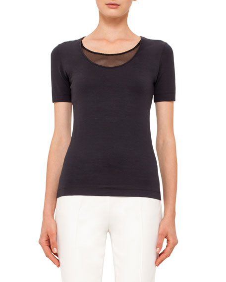 Akris punto Scoop-Neck Tee with Mesh Detail, Navy