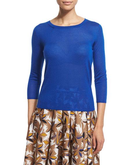 Agnona 3/4-Sleeve Round-Neck Cashmere Sweater, China Blue