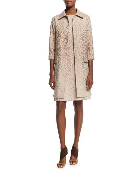 Agnona 3/4-Sleeve Textured Topper Coat, Cipria Beige