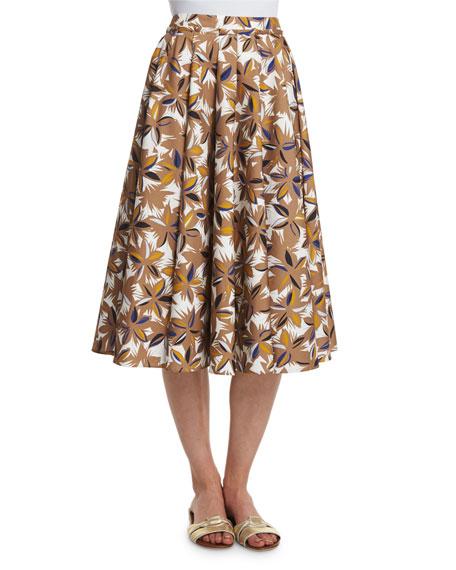 Agnona Jungle-Print Full Skirt, Phard/Multi