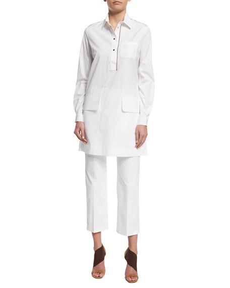 Agnona Long-Sleeve Shirtdress W/Contrast Trim, White