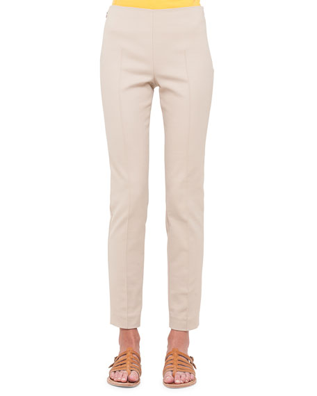 Akris Melissa Techno Slim-Leg Pants, Sand