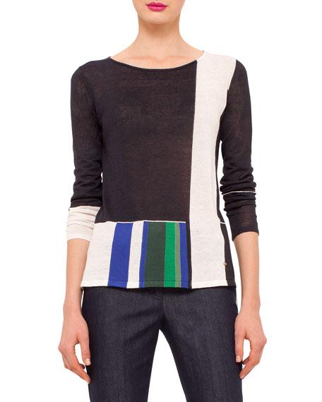 Akris Long-Sleeve Colorblock Tunic Pullover, Navy/Multi