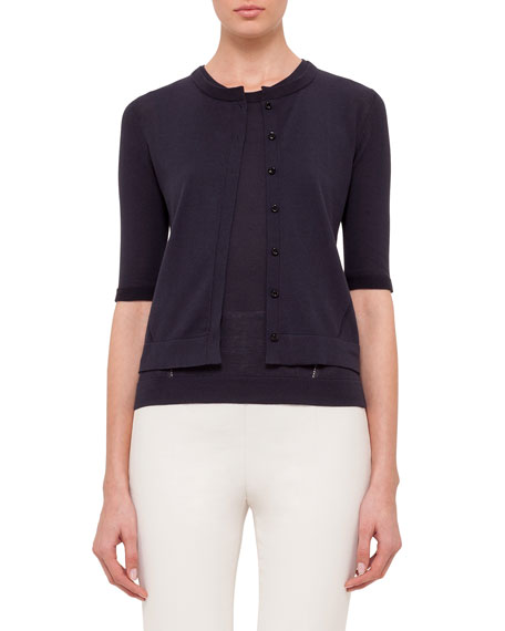 Akris Half-Sleeve Button-Front Cardigan, Navy