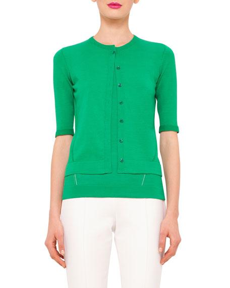 Akris Half-Sleeve Button-Front Cardigan, Bonsai