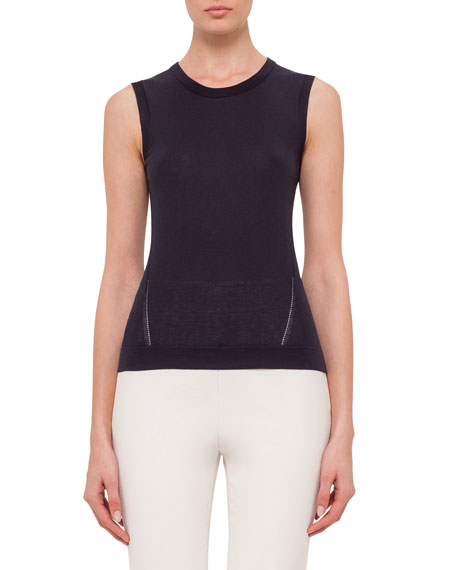 Akris Sleeveless Round-Neck Top, Navy