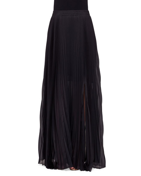 Akris Mid-Rise Plisse Maxi Skirt, Black