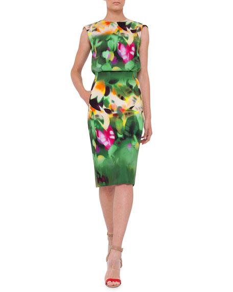 Sleeveless Grand-Hedge-Print Sheath Dress, Multi Colors