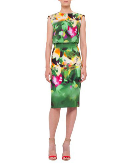 Akris Sleeveless Grand-Hedge-Print Sheath Dress, Multi Colors