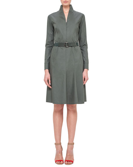 Akris Long-Sleeve Mock-Neck A-Line Shirtdress, Algae