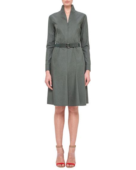 Akris Long-Sleeve Mock-Neck A-Line Shirtdress, Algae