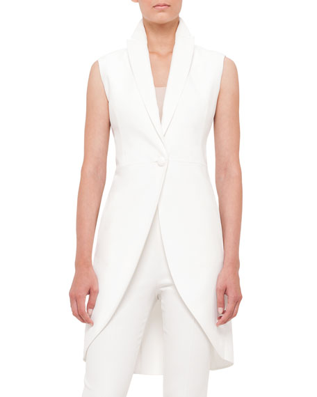 Akris Sleeveless One-Button Crepe Tailcoat, Scoop-Neck Fitted