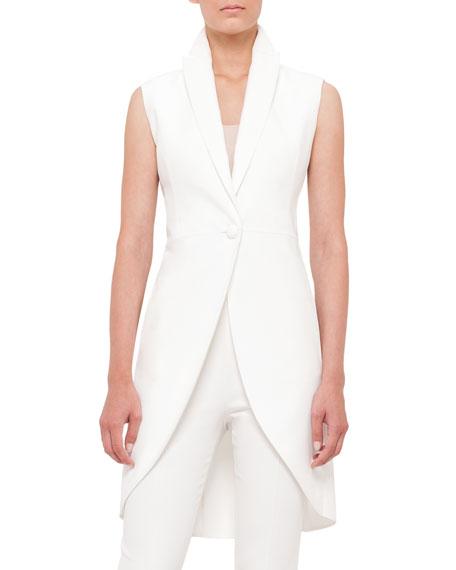 Akris Sleeveless One-Button Crepe Tailcoat, Anemone