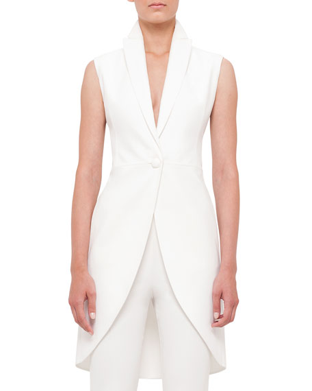 Sleeveless One-Button Crepe Tailcoat, Anemone