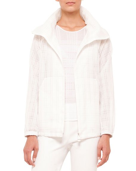Akris Zip-Front Plaid Short Parka, Long-Sleeve Plaid Pullover