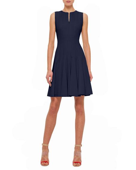 AkrisSleeveless Fit-&-Flare Zip Dress, Navy