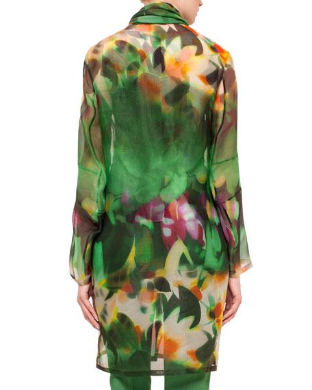 Grand Hedge Floral-Print Silk Organza Topper Jacket, Multi