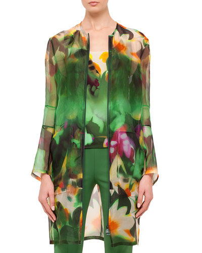 Grand Hedge Floral-Print Silk Organza Topper Jacket, Multi
