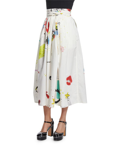 Collage-Print Wrap Cotton Midi Skirt, Multi Colors