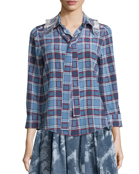 Marc Jacobs Embellished-Collar Plaid Shirt, Dusty Blue/Bordeaux