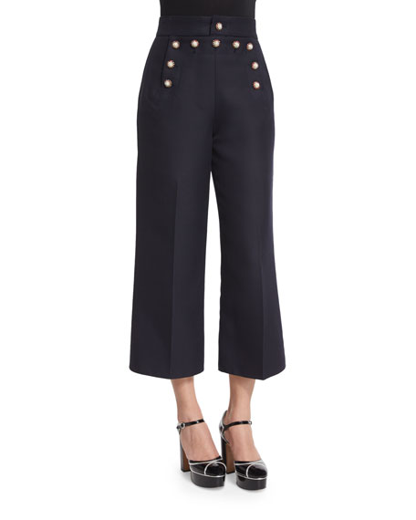 Marc Jacobs Swan-Embellished Cropped Sailor Pants, Navy