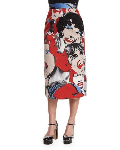 Scream Queen Midi Pencil Skirt, Multi Colors