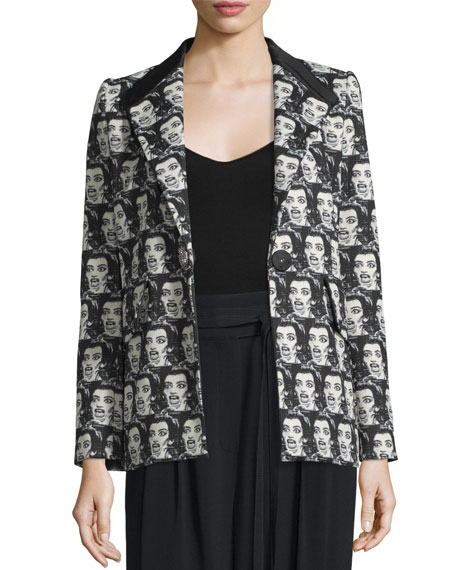 Marc Jacobs Maria Callas One-Button Jacket, Black/White