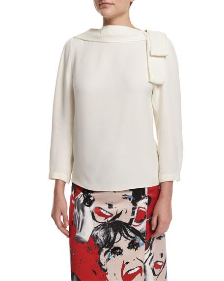 Marc Jacobs 3/4-Sleeve V'd-Back Blouse, White