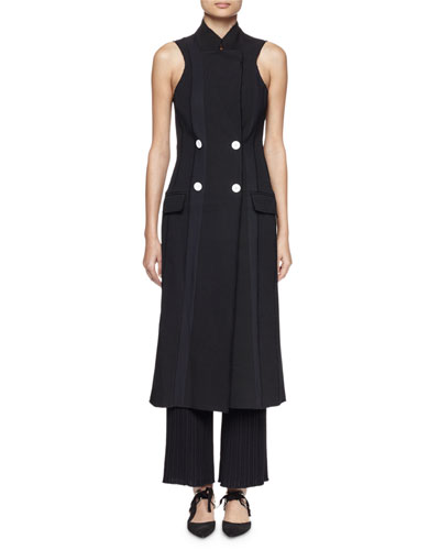 Sleeveless Double-Breasted Suiting Dress, Black