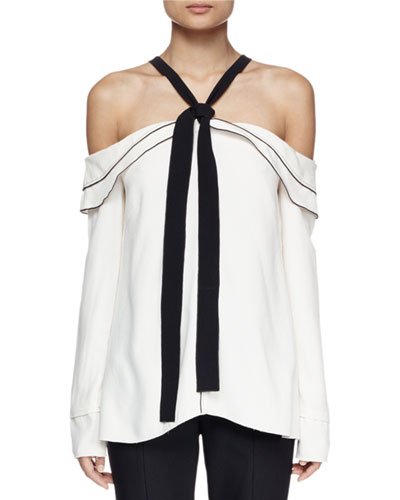 Long-Sleeve Off-The-Shoulder Blouse, Off White