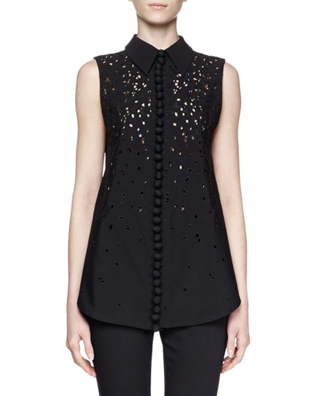Proenza Schouler Sleeveless Collared Embroidered Top, Black